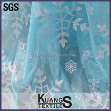 big snowflake crystal Sapphire organza fabric for frozen elsa Cloak