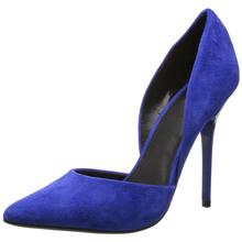 China Wholesale Women's Shoes Fancy Blue Cut-Out Two Piece Kid Suede Ladies High Heels Party Fetish Shoes