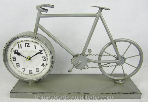 Antique gray french style metal bicycle shape table clock