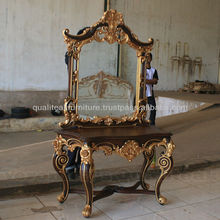 Antique Custom Designs Mahogany Console Table With Mirror