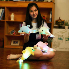 Hot Sale Electronic Light Shining Led Lighting Music Soft Dolphin Shaped Plush Toy
