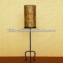 Tall Fool Standing Mosaic Glass Candle Holder With Metal Stand