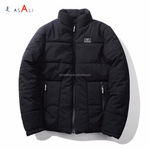 Mens winter jacket coat 100% polyester padded puffer jacket with stand collar
