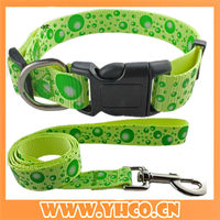 wholesale 2016 printing nylon dog leash with collar