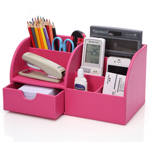 Office Desk Organizer Multifunction Full Leather Red Pen Holder