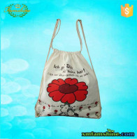 eco friendly drawstring white organic cotton sling bag