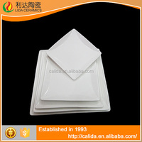 Simple style ceramic plate 15.3*15.3*1.8 shallow square platter