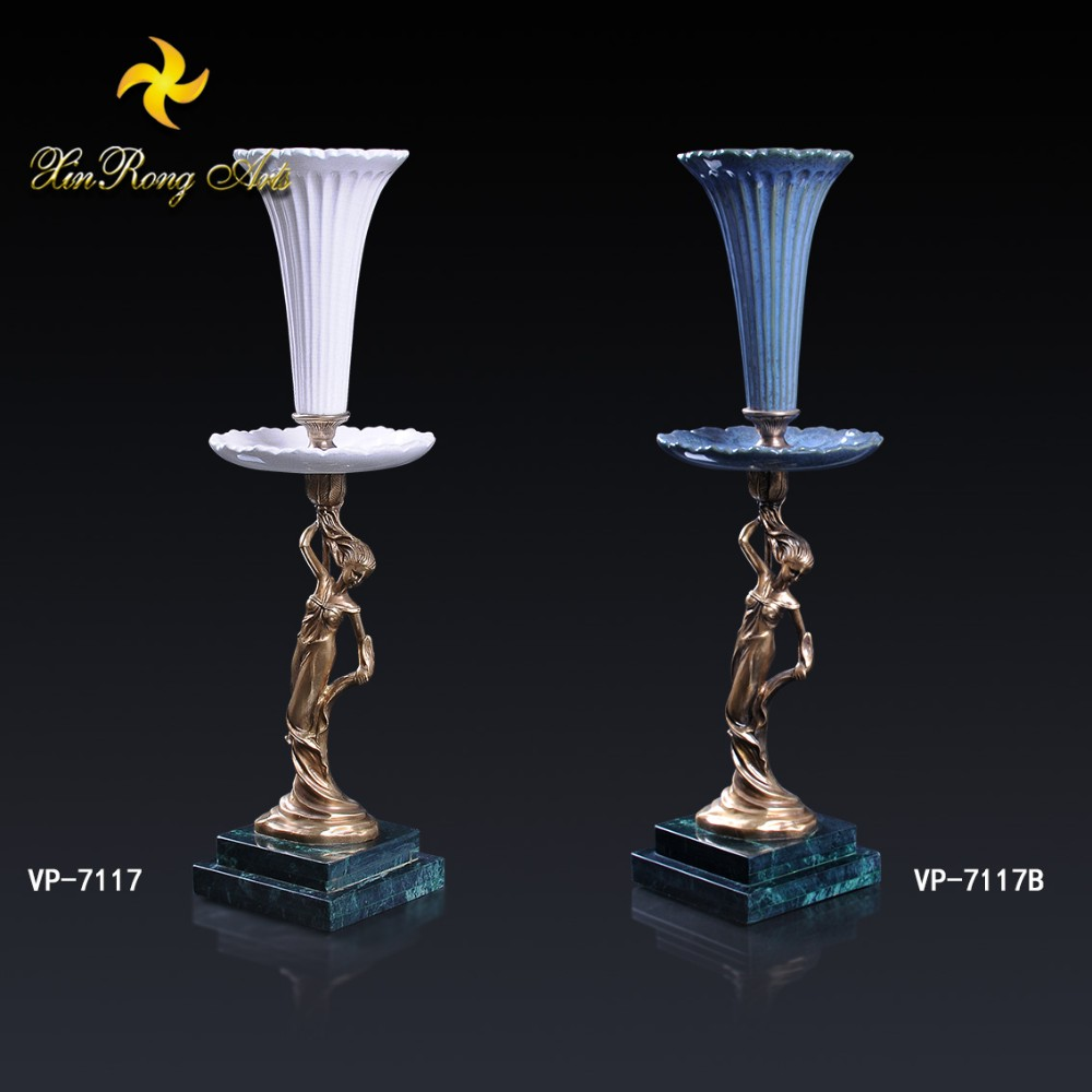 Luxury oriental ceramic vases with brass lady decoration and marble base