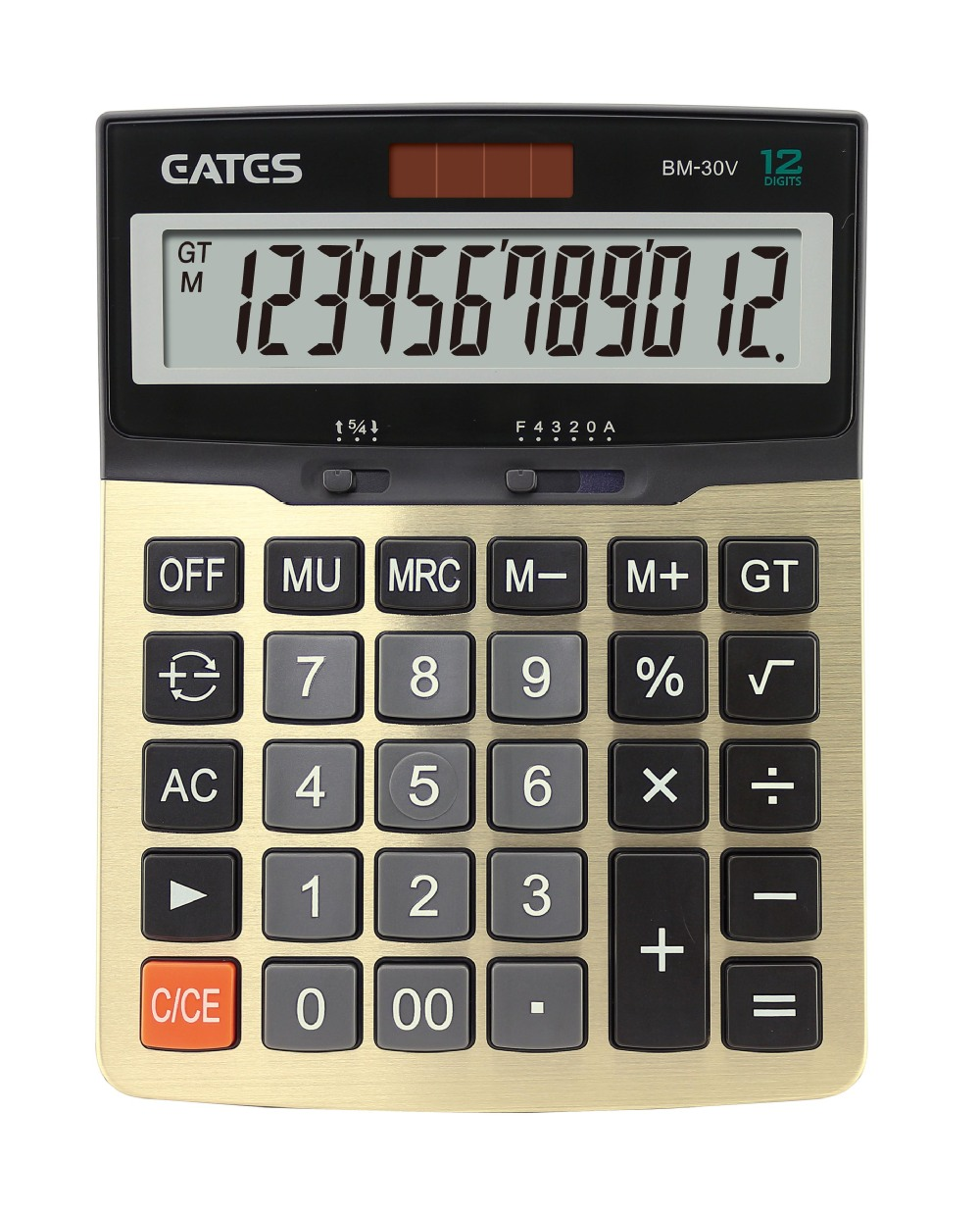 Solar Power Desktop Calculator Aluminium Plate 12 digits