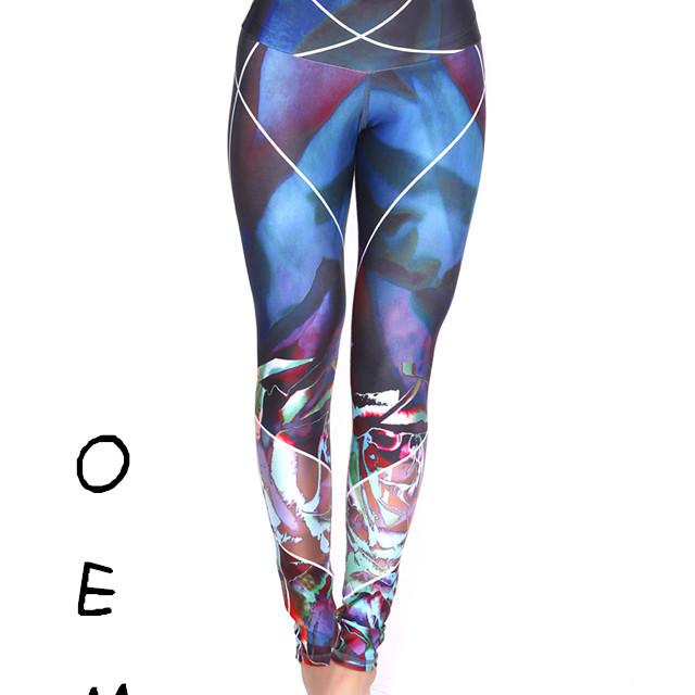 2017 custom yoga pants polar light pattern tight leggings for women