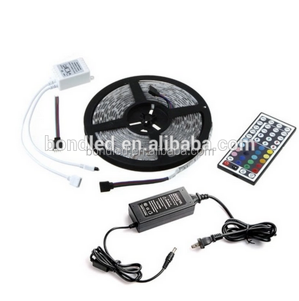 Waterproof 5M 5050RGB 300 Led Strips Lighting Full Kit With 44Key IR Remote +Plug Adapter Power Supply