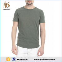 2016 Guangzhou Shandao Casual Men Green Round Neck Short Sleeve180GSM 35% Cotton 63%Polyester 2%Spandex Cricket T-Shirt Pattern