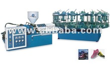 Once-through upper-link shoes/footwear injection molding machine