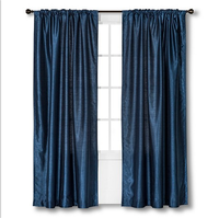 100%polyester eyelet faux silk curtain pencil pleat ready made curtain