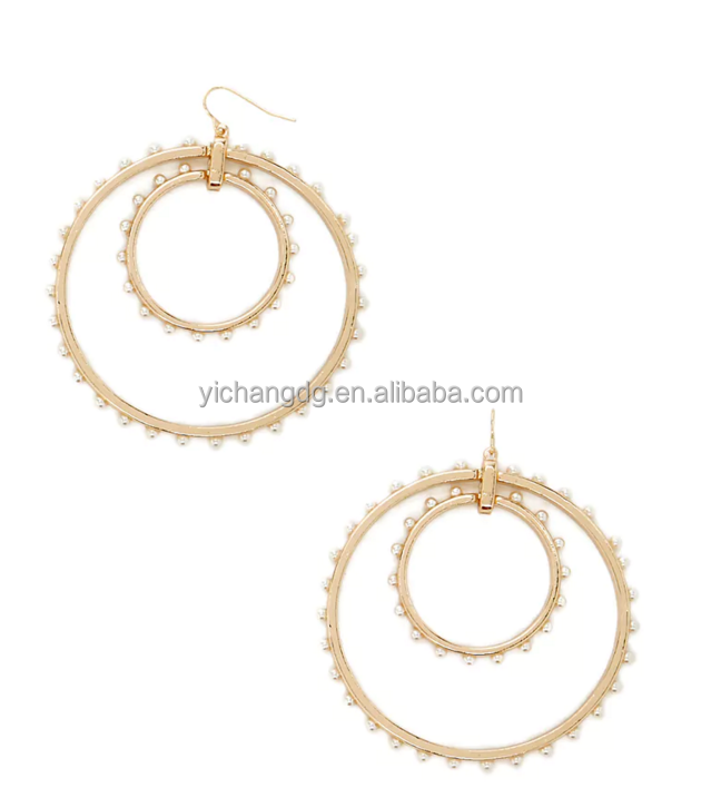 2017 Newest Design Faux Pearl Drop Hoop Earrings For Wholesale