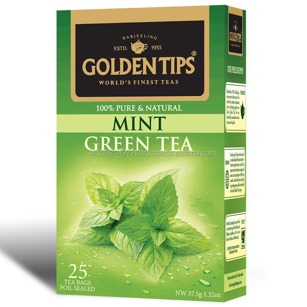 Golden Tips Mint Green Tea, Tea Bags, 25- Count Boxes