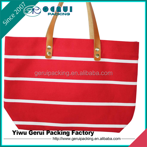 Wholesale Casual Women Polyester Canvas Tote Bag With PU Handle