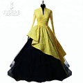 Yellow Printed Fabric Long Sleeves Prom Dress