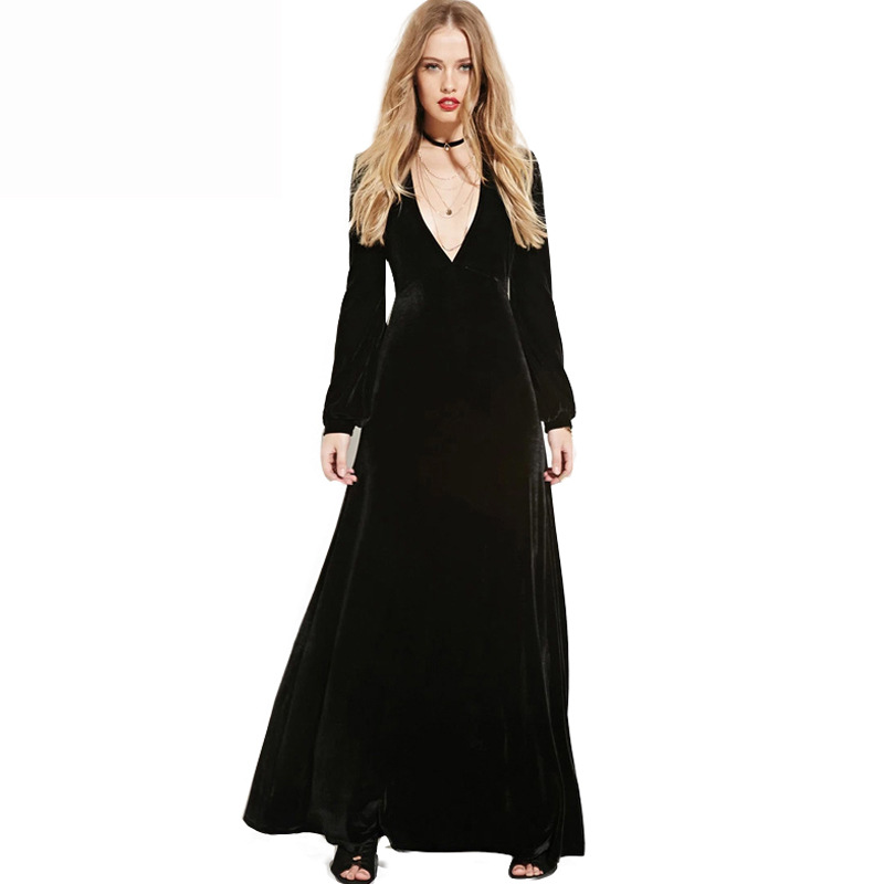 Z92830A 2017 New Collection Women's Deep V-neck Sexy Dress Wholesale Pure Color Long Women Dress