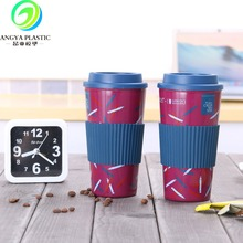 New product factory price double wall plastic Coffee Cup with silicon band and screw lid