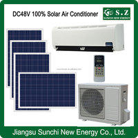 Low price DC48V variable 100% no AC power wall solar air conditioners central air unit