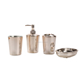 cheap price hotel soap bottle toothbrush holder 4pcs plastic bathroom sets accessories electroplate workmanship