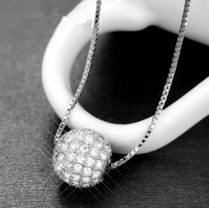 Fine jewelry 100% 925 Sterling Silver Transport bead full cz crystal necklace include chain Free shipping