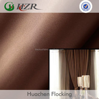 China cheap hotel polyester faux silk dupioni flocking blackout fabric