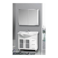 MDF white painted 90cm size classic design with mirror bathroom vanities