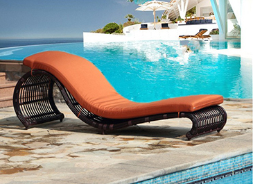 Ajustable back outdoor rattan sun lounger chair