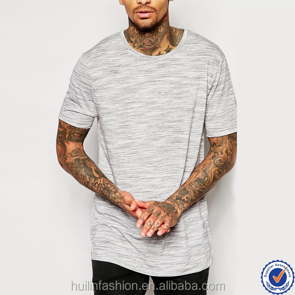 latest shirt designs for men crew neck split hem new fashion custom plain longline t-shirt for men
