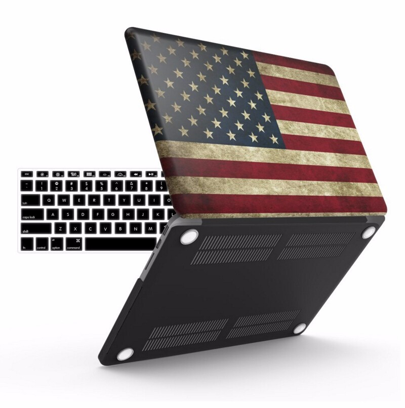 USA flag pc shell hard case with keyboard protector for mackbook pro case