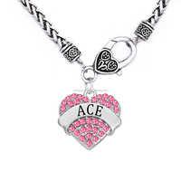 Diy Personalize Custom Engraved Names Hearts Crystal ACE Charm Heavy Chain Necklace For Men