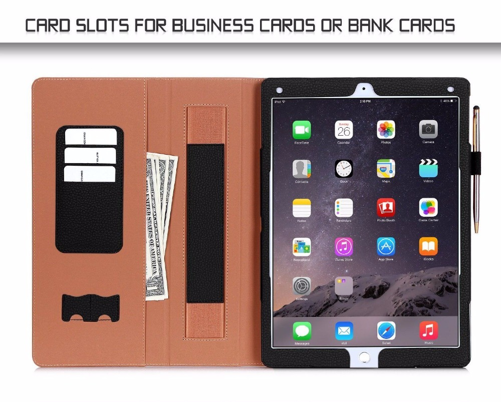 Hand Strap Card Slots Note Pen Holder PU Leather Smart Cover Stand Case For iPad Series Model