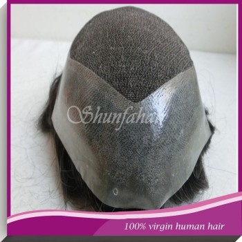 Best sale 100% virgin human hair toupees , French lace /swiss lace with PU around toupees ,natural hair toupees