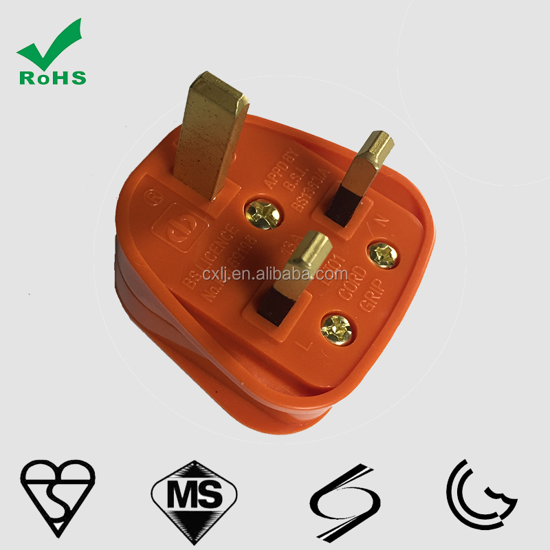 high quality BSI approval UK 3-pin fused power cord plug 3A 5A 10A 13A HK plug
