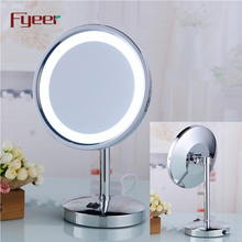 Fyeer 8 Inch Single Side Round Makeup Table Mirror with Led Light