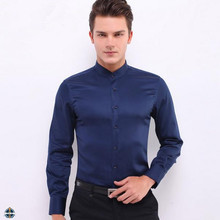 T-MSS566 Men Slim Fit Shiny Cotton Chinese Collar Shirts