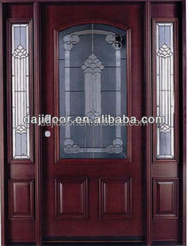 2 Side Lite Decorative Glass Wood Doors Exterior DJ-S9116MST