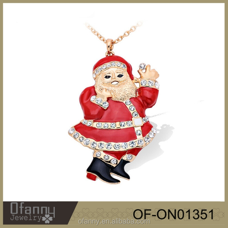 Merry Christmas Necklace Jewelry Red Santa Claus Crystal Necklace Design
