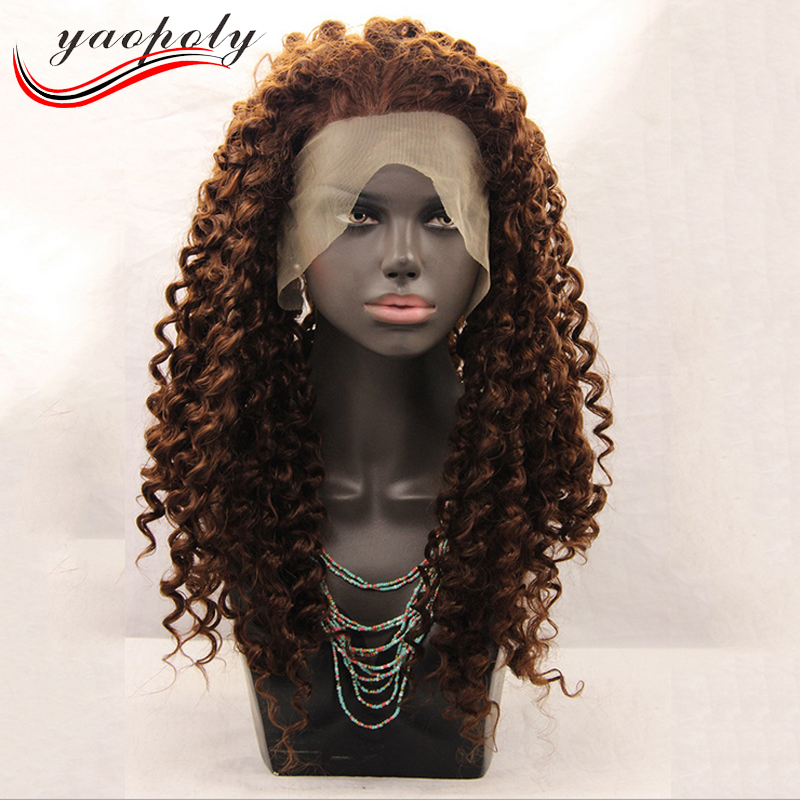 Hight quality Synthetic Lace Front Wigs Natural Kinky Curly Style Brown Long Layer Wigs For Women Wig sythetic hair
