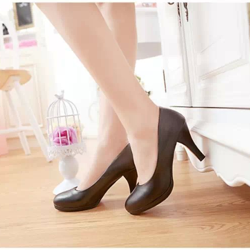 Hot selling trendy beautiful korean style women shoes comfortable round toe elegant platform high-heeled formal lady work shoes