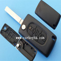 Good Quality Ledy remote key shell fob 3 button key case no logo CE0523 trunk button without groove blade Peugeot