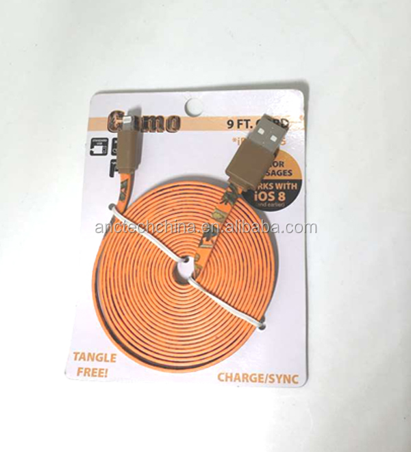 High speed micro USB data cable printed flat wire for IOS & Android
