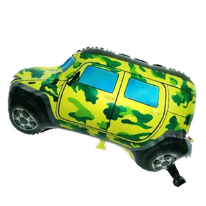 Kids birthday gifts party decor cars suv cars toys inflatable helium cartoon toys camouflage off-road car foil balloon