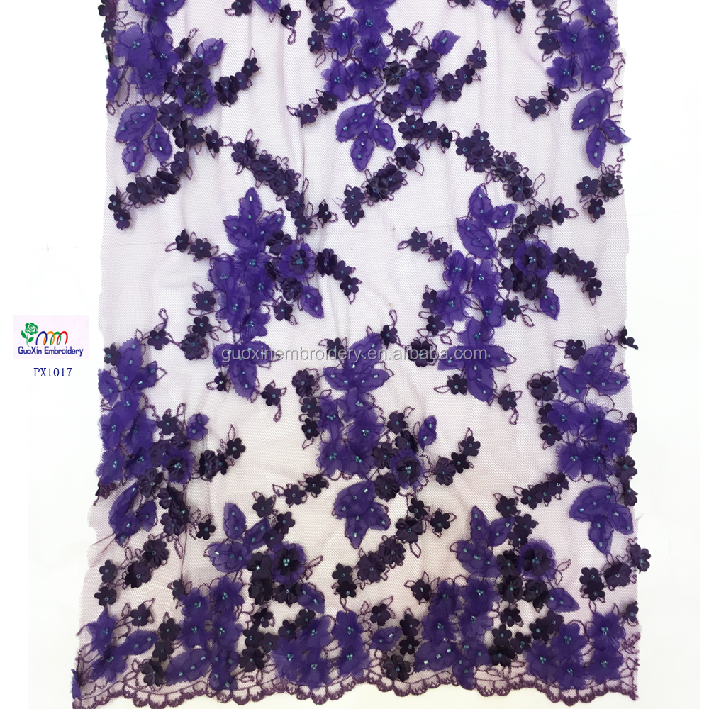 2016 3D Design Purple French Lace Popular Style african french net Lace For Wedding