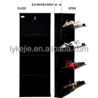 Cheap Hotel Furniture 10 Cubes Black Shoe Cabinet 10 Pairs Shoes Storage Box with 4 storage drawer and metal cover