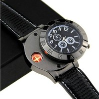 New 2015 Military USB Lighter Watch Men's Casual Quartz Wristwatches with Windproof Flameless Cigarette Cigar Lighter -P6264