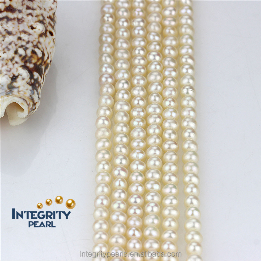 Jeweley accessory freshwater pearl strand 5mm AA round wholesale pearl string