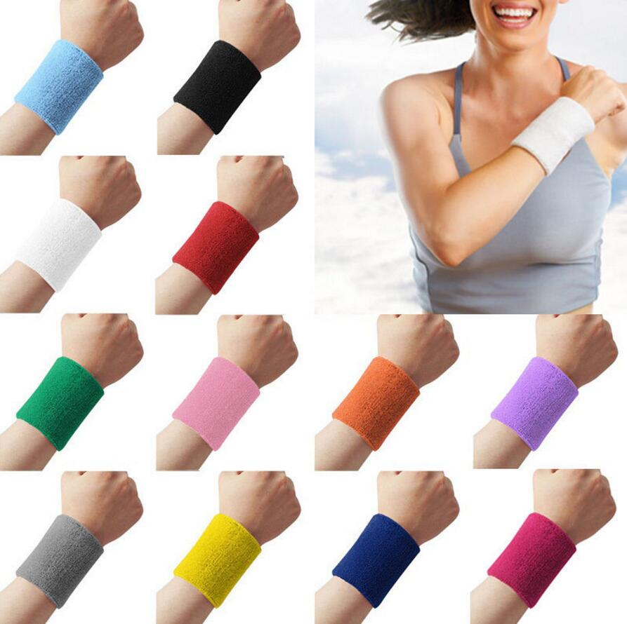 Colorful Unisex Sportline Cotton Wrist Sweat Bands Terry Cloth Sweatbands Exca